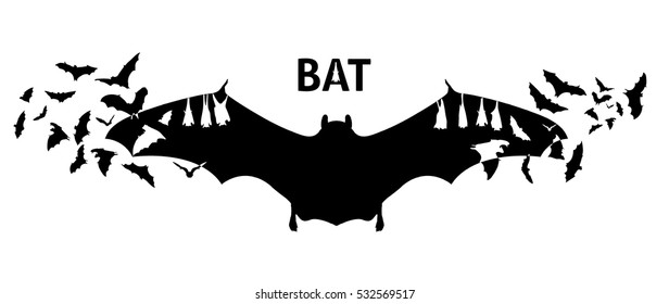 Isolated Flying bat silhouettes with double exposure effect and the bats on the background
