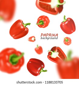 Isolated flying vegetables. Falling sweet red paprika isolated on white background. Realistic vector, 3d illustration