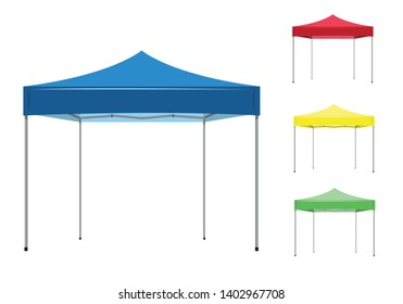 Isolated foldable pop up canopy tent used for outdoor events and other activities with different colors. Editable Clip Art.