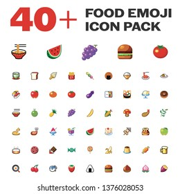 Isolated Food Emoji Pack, Emoticon, Vector
