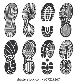 Isolated footprint vector silhouettes. Dirty shoes and sneakers footprints. Black footprint and illustration of imprint track step