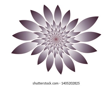 isolated fractal flower in brown shades on white
