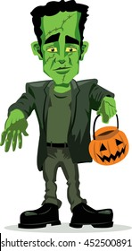 Isolated Frankenstein Trick-or-Treat Halloween Illustration