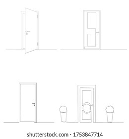 isolated, front door drawing in one continuous line, set