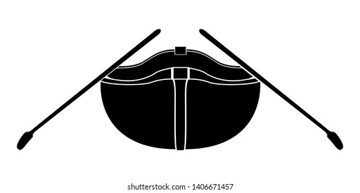 Isolated front view of a rowboat icon - Vector