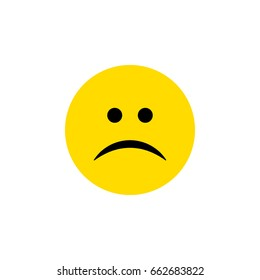 Isolated Frown Flat Icon. Sad Vector Element Can Be Used For Sad, Frown, Emoji Design Concept.