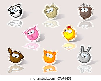 Isolated funny faces farm animals. For children. Vector. Stylized embroidery applique.