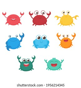 Isolated funny vector sea crabs. Set of freshwater aquarium cartoon crabs for print, children development. Arthropod, graphic, decorative, colored, animals