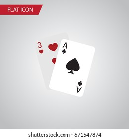 Isolated Gambling Cards Flat Icon. Ace Vector Element Can Be Used For Ace, Gambling, Cards Design Concept.