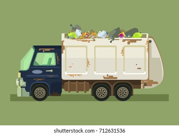 Isolated garbage truck. Vector flat cartoon illustration