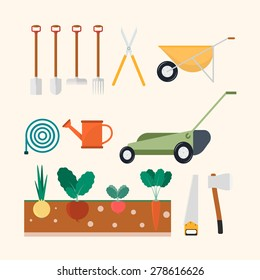 Isolated garden and farm set: Plant, Wheelbarrow, Lawn mower, garden and farm equipment. Vector flat illustrations icons