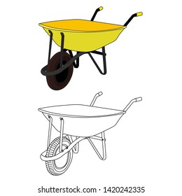 isolated, garden yellow cart in a flat style, with a sketch
