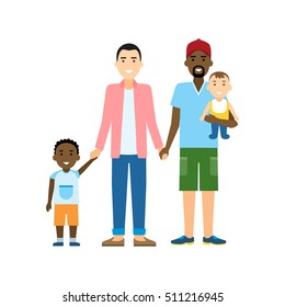 Isolated gay family. Two handsome cartoon men with two sons standing on white background and holding hands. Happy homosexual relationship. Interracial marriage.