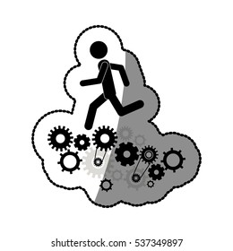 Isolated gear and businessperson design