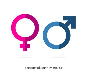 isolated gender, pink women and blue man symbols, icons flat, infographic, paperwork, vector design