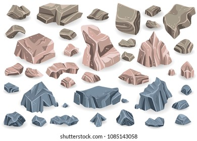 Isolated geological material, mineral stone, rough solid illustration. Can use for web banner, infographics, hero images. Flat isometric vector illustration isolated on generic background.