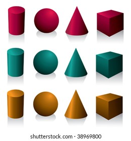 Isolated geometric objects. Vector illustration.