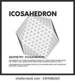 Isolated geometrical low poly icosahedron render. Vector monochrome illustration on light background. Original minimal linear d20 3D model. EPS10.