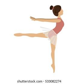 Isolated girl practice ballet design