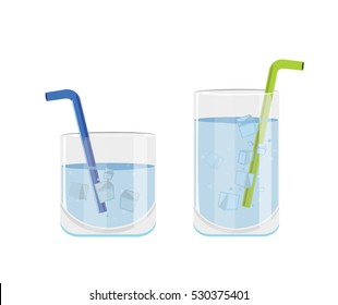 Isolated Glass of water with ice and straw