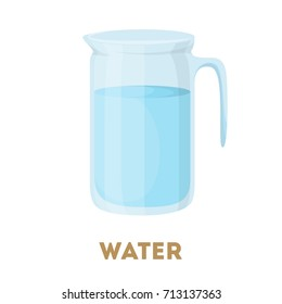Isolated glass water jug on white background.
