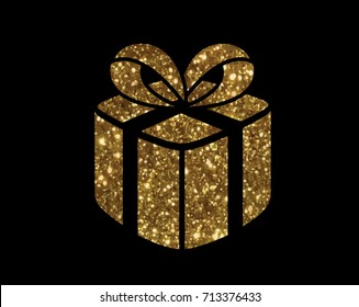 The isolated glitter golden holiday gift box icon