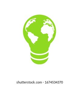 Isolated globe icon in the form of an electric lamp on a white background. Ecological action Earth hour, saving the planet. Vector flat illustration.