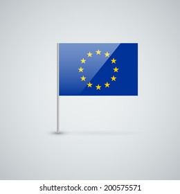 Isolated glossy icon with flag of European Union. Correct proportions and color scheme.