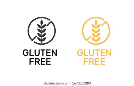 Isolated gluten free label vector design. Celiac allergy diet sign.