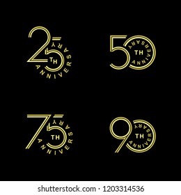 Isolated golden anniversary date logotypes