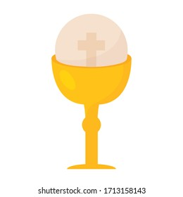 Isolated golden chalice and host - Vector illustration