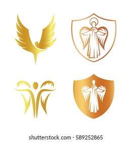 Isolated golden color angel silhouette logo set, shield with religious element logotype collection,coat of arm with archangel vector illustrations on white