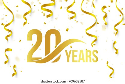 Isolated golden color number 20 with word years icon on white background with falling gold confetti and ribbons, 20th birthday anniversary greeting logo, card element, vector illustration