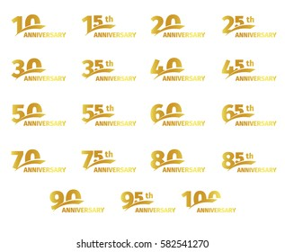 Isolated golden color numbers icons collection on white background, birthday anniversary greeting card elements set vector illustration