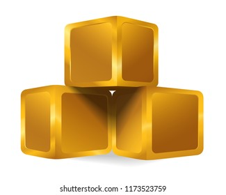 Isolated golden cube pyramid, gold 3d object (box, Goldmine) on white background, wealth business concept idea