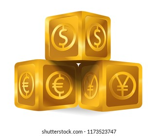 Isolated golden cube pyramid with world major currencies US dollar sign, euro, Japanese yen icon. Gold 3d object (box, Goldmine) on white background, wealth business concept idea