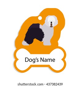 Isolated golden dog tag with text and an illustration of a dog breed