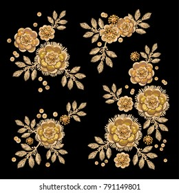 Isolated golden floral elements with imitation embroidery