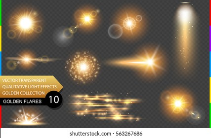 Isolated golden lens flare. Glow transparent vector light effect set, explosion, glitter, spark, sun flash, and star burst. Abstract translucent special element design. Shine semitransparent comet