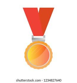 Isolated golden medal image. Vector illustration design