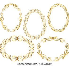 isolated golden oval border