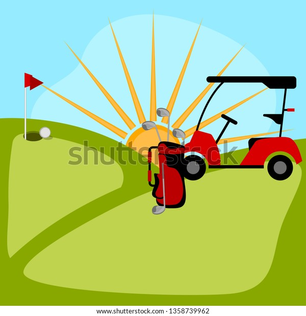 Isolated Golf Course Background Vector Illustration Stock Vector Royalty Free 1358739962