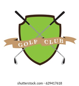 Isolated golf emblem with a pair of clubs, Vector illustration