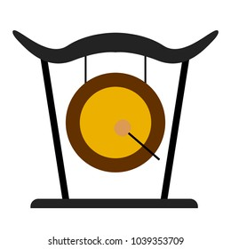 Isolated gong icon. Musical instrument