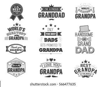 Isolated Grandfathers quotes on the white background. Grandpa congratulation label, badge vector collection. Granddads Mustache, hat, stars elements for your design.