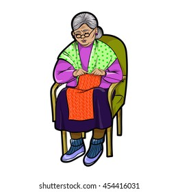 Isolated Grandma in Chair knits, vector illustration