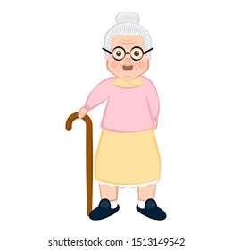 Isolated grandmother cartoon with a wooden walking stick - Vector