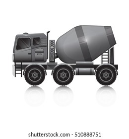 Isolated gray concrete mixer on a white background.