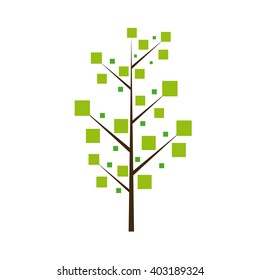 Isolated green abstract tree on a white background