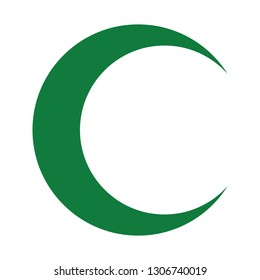 Isolated green crescent moon symbol - Eps10 vector graphics and illustration